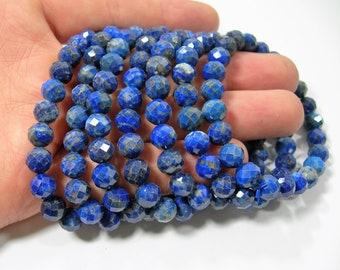 Lapis Lazuli  - 8mm ( 7.7mm) faceted round beads - 23 beads - 1 set - A quality  - HSG178