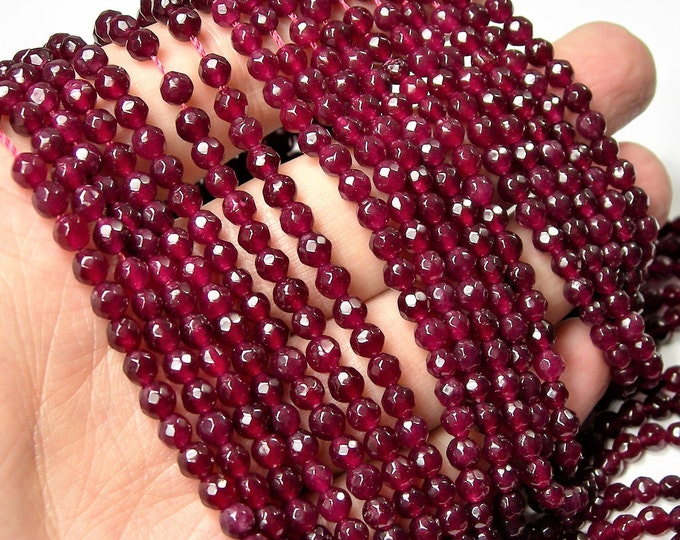 Ruby Jade 4mm faceted round beads - full strand - 88 beads - Color jade - WHOLESALE DEAL - RFG1595