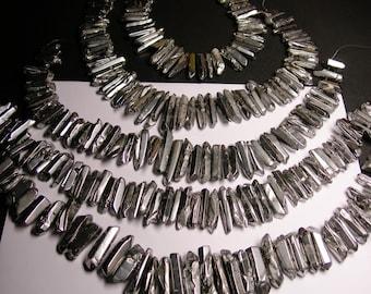 Quartz crystal points -  mystic silver quartz points -  top drilled - Full strand - 40 pcs - PQM5