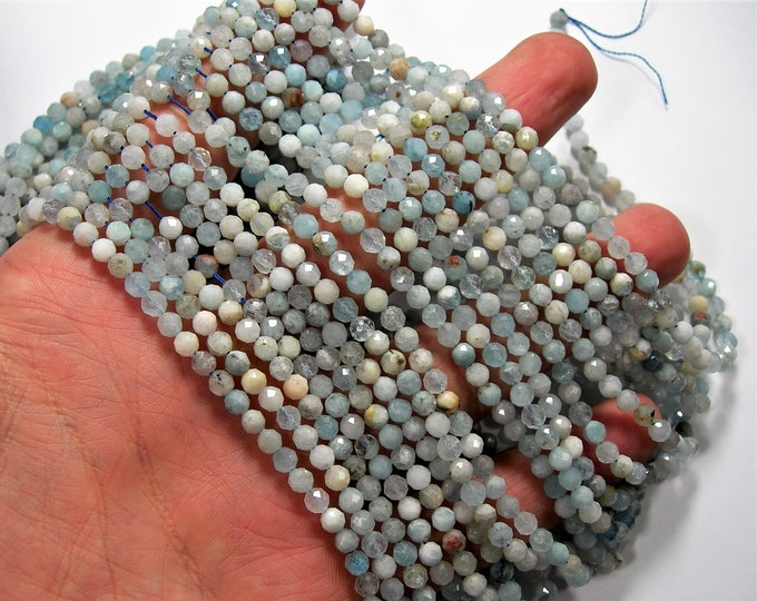 Aquamarine - 4mm(4.2mm) micro faceted round beads - full strand - 92 beads - PG350