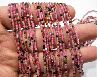 Tourmaline - 2mm(1.95mm) faceted round beads - full strand - 204 beads - multi color tourmaline - micro faceted - PG185