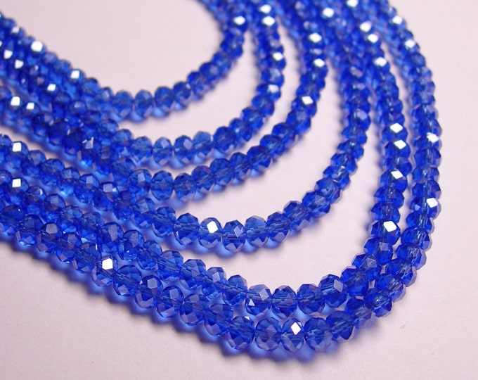 Crystal faceted rondelle - 100 pcs - full strand - 4 mm - A quality - ab finish - blue - FCRM10