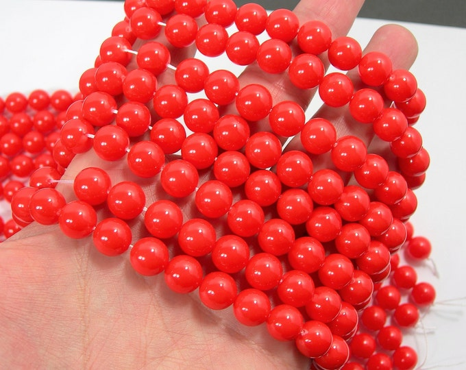 Pearl  - 10 mm round - Orange red - 1 full strand - 39 beads - Shell pearl