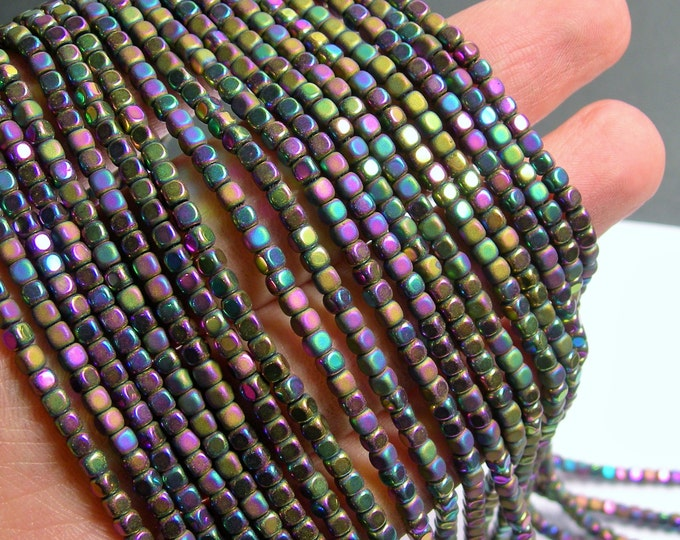Hematite Rainbow - 3mm cube beads -  full strand - 140 beads - AA quality - matte and polished  - PHG247