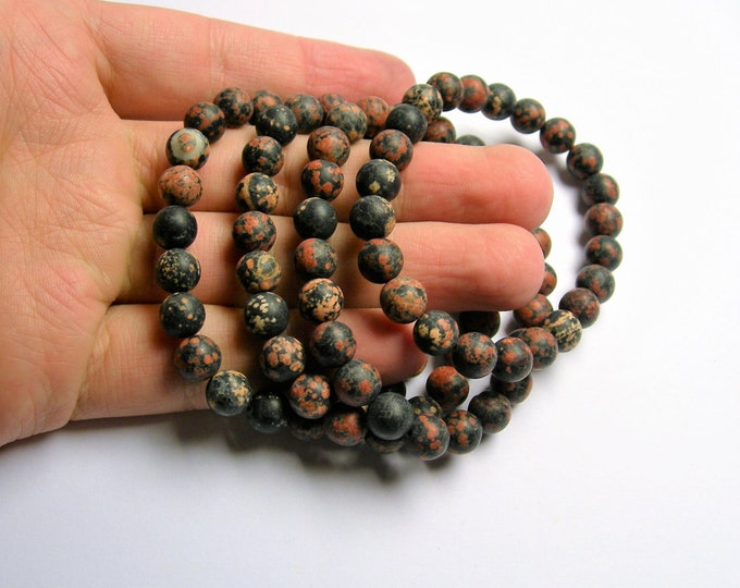 Red Snowflake Obsidian   - 8mm round beads - matte - 23 beads - 1 set - A quality - HSG28