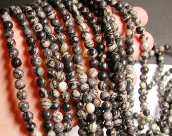 Silk Stone - 6 mm - round bead - 64 beads - full strand - Spider Jasper - RFG1020