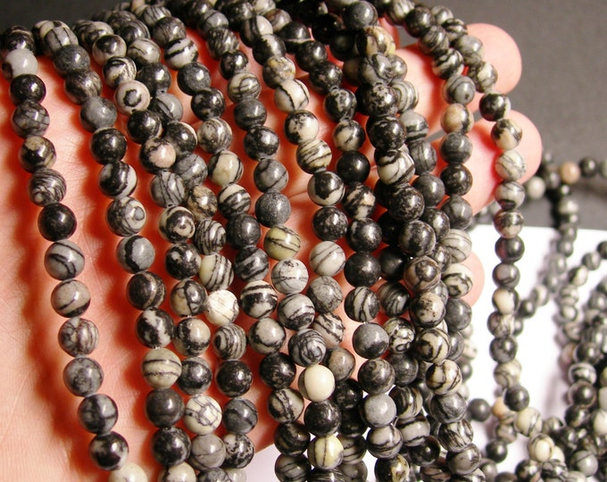 Silk Stone - 6 mm - round bead - 64 beads - full strand - Spider Jasper - RFG1020