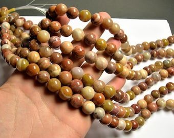 Petrified wood - 12mm round beads -1 full strand - 33 beads - Madagascar petrified wood - RFG1292
