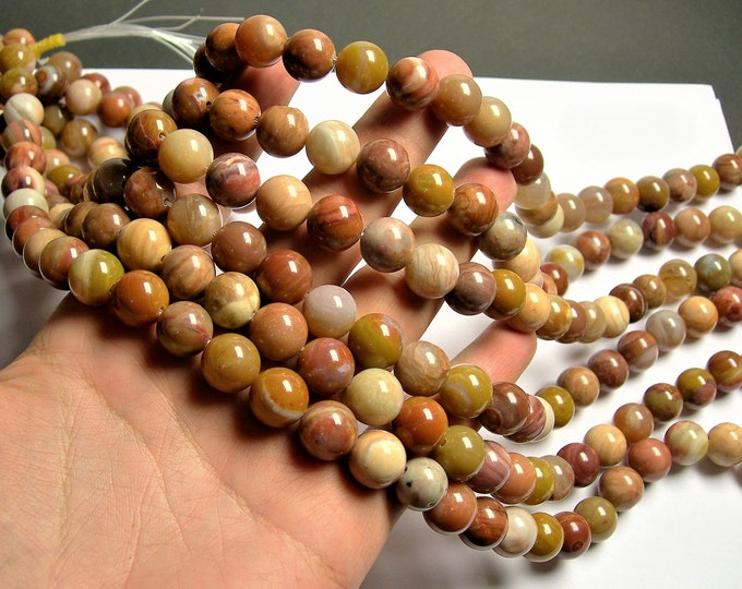Petrified wood - 12mm round beads -1 full strand - 33 beads - Madagascar petrified wood - RFG1292