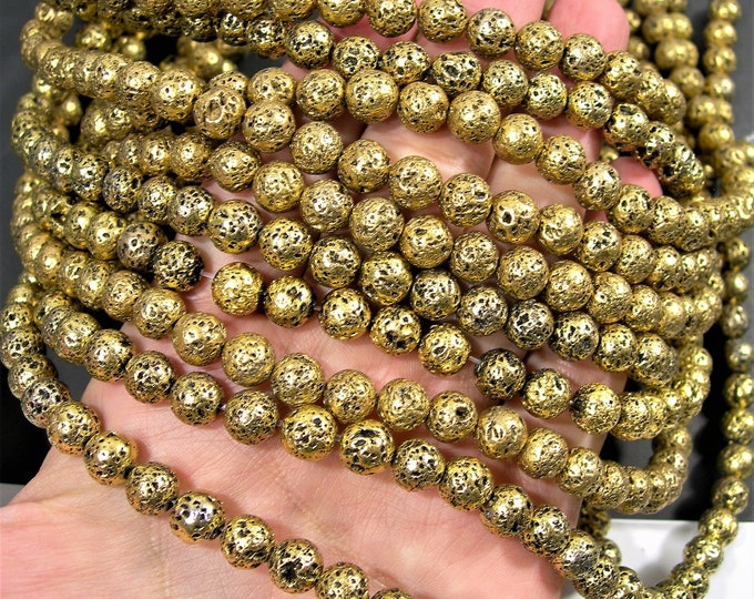 Gold Plated Lava - 8mm round -  full 16 inch strand - 50 beads - A Quality - Lava  volcanic gem - Wholesale deal - RFG1782
