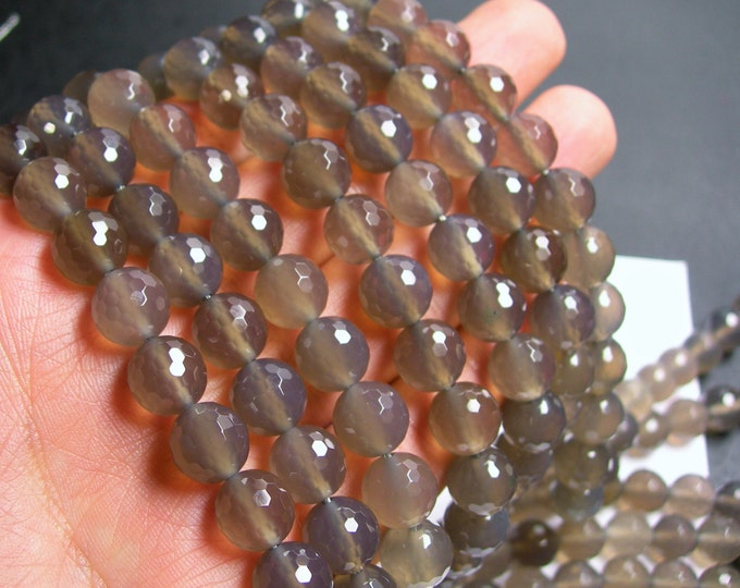 Grey Agate - 10mm faceted round beads - full strand - 39 beads - AA quality - RFG399