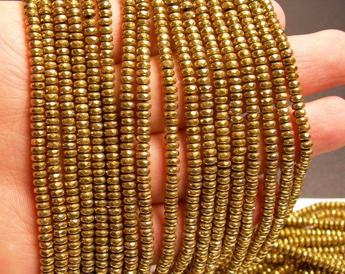 Hematite gold  - 2x4mm faceted rondelle beads - full strand 184 beads - A quality - PHG135