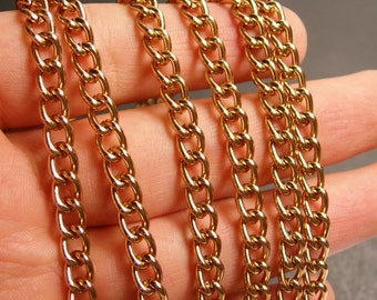 Copper chain - lead free nickel free won't tarnish - 1 meter - 3.3 feet - aluminum chain  -  NTAC74