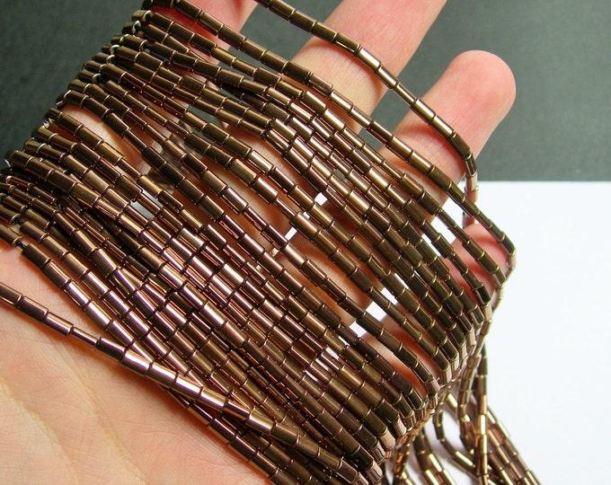 Hematite Bronze - 5mm flat tube beads - 1 full strand - 80 beads - AA quality - PHG193
