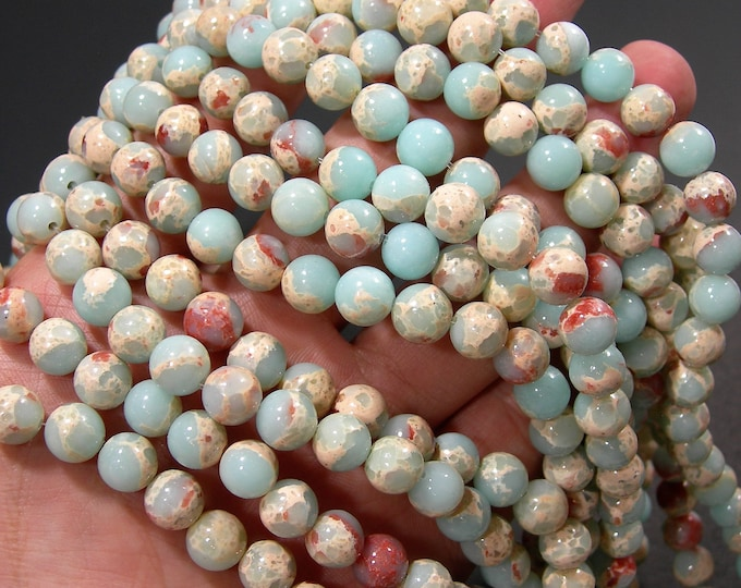 Impression Jasper - 8mm(8.2mm) round beads - full strand - 45 beads - reconstituted -  A quality - RFG1734