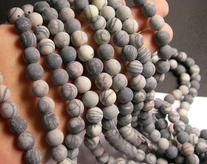 Silk Stone matte - 10 mm - round bead - 40 beads - full strand - matte - Spider Jasper - RFG492
