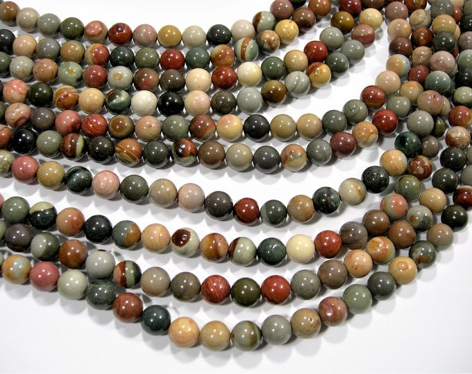Polychrome jasper - 8 mm round beads - full strand - 48 beads - AA quality - RFG432