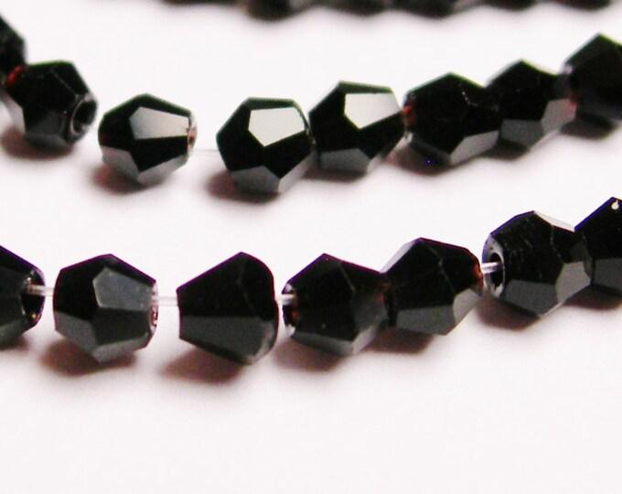 Crystal bicone - 98 pcs - full strand - 3 mm - Black  - CBCG3