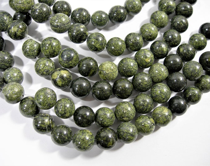 Russian Serpentine - 10mm(10.3mm) round beads - full strand - 38 beads - RFG1770