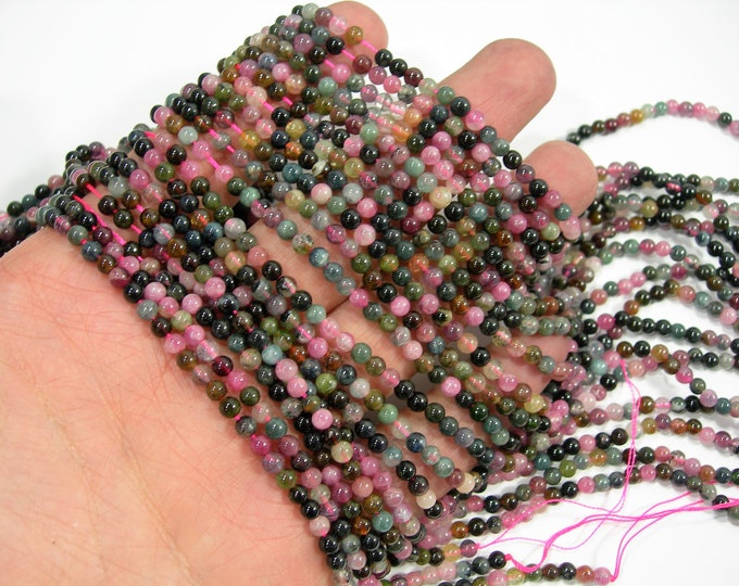 Tourmaline - 3.8mm  round beads - Full strand - 110 beads - multi colored tourmaline - RFG2012