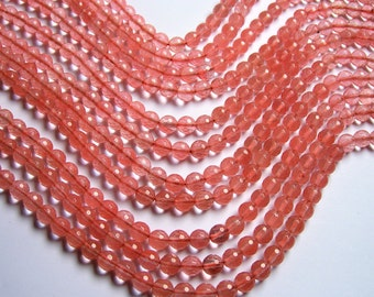 Cherry quartz -  faceted 8mm round - AA quality -  48 beads per strand - RFG263