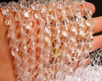 Crystal faceted oval round - 50pcs -  9 mm - AA quality - clear - 18 inch strand