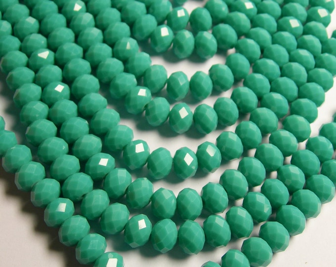 Crystal faceted rondelle - full strand 21 inch  -  72 pcs - 10mm x 7mm - AA quality - turquoise - CRV89
