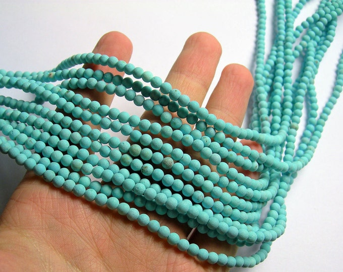 Howlite turquoise matte - 4mm (4.2mm) beads -  full strand -  92 pcs - A Quality - RFG1220