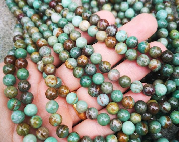 Dragon Blood jade - 8mm  round beads - full strand - 48 beads - RFG2271