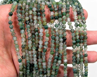 Moss agate - 4.3mm round beads - full strand - 90 beads - Wholesale Deal - RFG1980