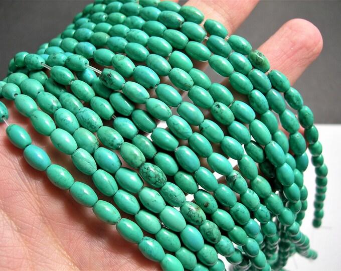 Howlite turquoise - 8mmx5mm beads - full strand - 50 beads -  AA Quality - puff tube - RFG1480