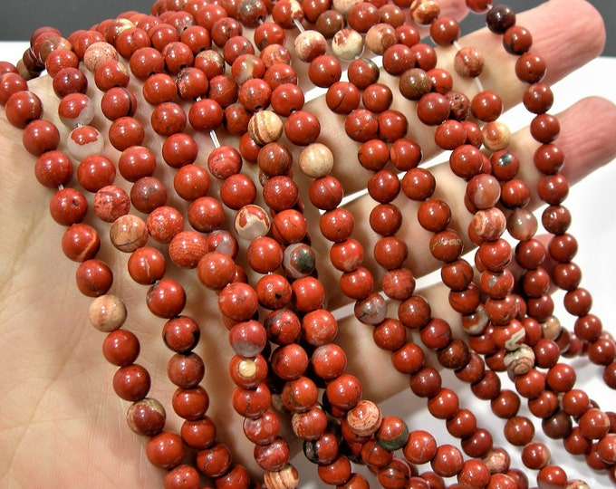 Red Jasper - 6mm(6.5mm) round beads -  full strand - 61 beads - matrix red jasper - RFG484