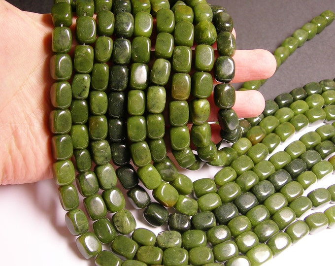 Serpentine jade tumbled nugget - A quality - 28  beads - full strand - smooth rectangle nugget - 10mmx14mm