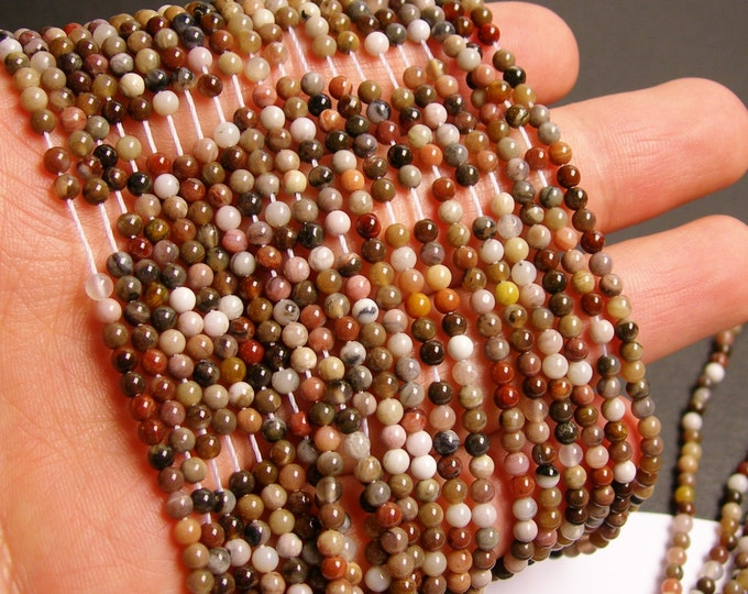 Petrified wood - 3mm round beads -1 full strand - 134 beads - quality  AA - NRG43