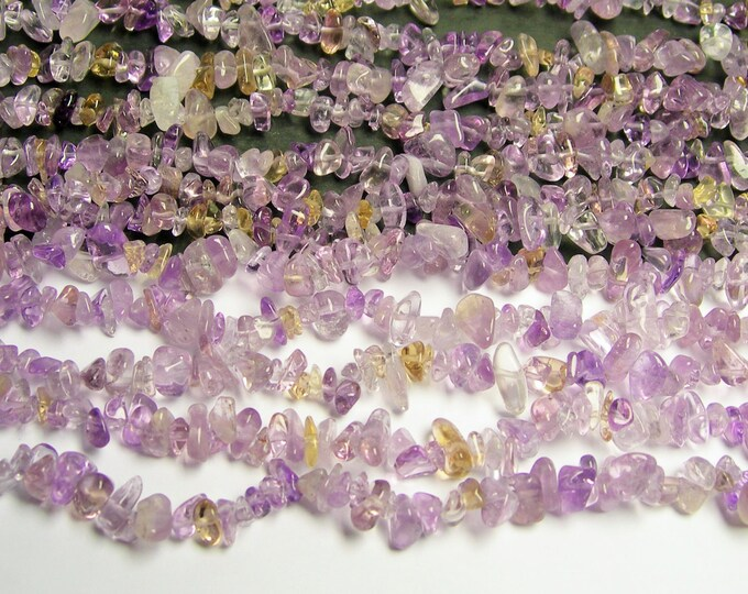 Ametrine  - chip stone beads  -1 full strand - 36 inch  - light ametrine -  PSC67
