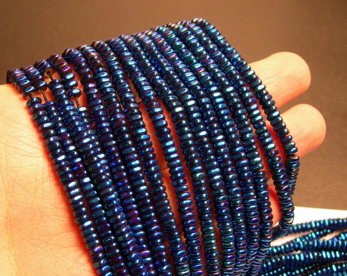 Hematite blue  - 4mm x 2mm heishi square slice beads - full strand - 202 beads - AA quality - PHG170