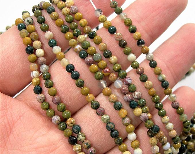 Ocean Jasper - 3mm round -  Full strand - 126 beads - Marovato ocean jasper - PG177