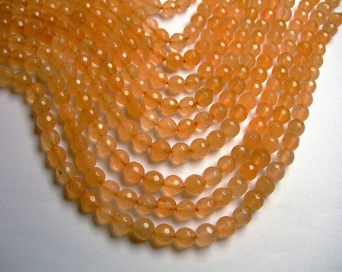 Jade - 8 mm faceted round beads -1 full strand - 48 beads -  Color jade - peach Jade - JDC9
