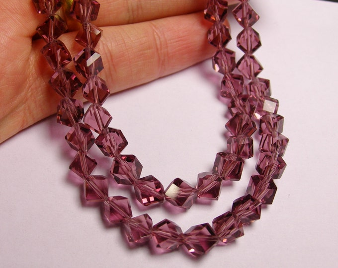 Crystal faceted cube  -  70 pcs - full  strand - 6 mm - A quality - light amethyst   - corner drill