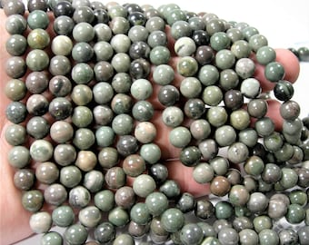 Green rain forest  jasper - 8mm round beads - full strand - 48 beads - A Quality - RFG1634