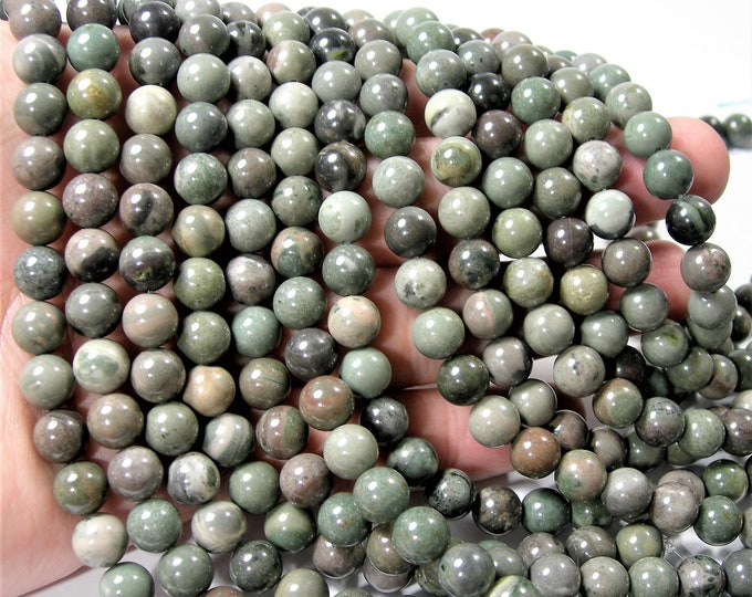 Green rain forest  jasper - 8mm round beads - full strand - 48 beads - A Quality - RFG1634