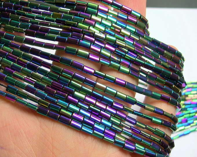 Hematite Rainbow - 5mm flat tube beads - 1 full strand - 80 beads - AA quality - PHG196