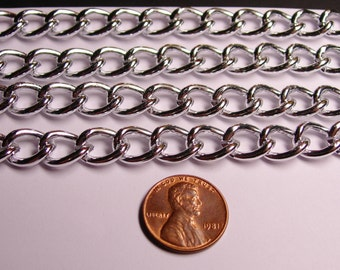 Silver chain -  lead free nickel free won't tarnish - 1 meter - 3.3 feet - aluminum chain - curb chain - NTAC58
