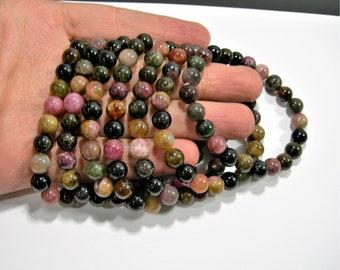 Tourmaline - 8mm round beads - 23 beads - 1 set - multi color tourmaline - HSG96
