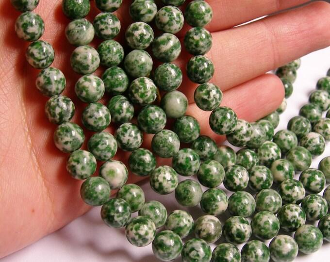 Green spot Jasper - 8 mm - round bead -  48 beads - full strand - RFG908