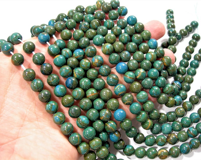 Chrysocolla Wood Jasper - 8mm(8.4mm) round beads - full strand - 46 beads - Blue green Serpeggiante - RFG1738