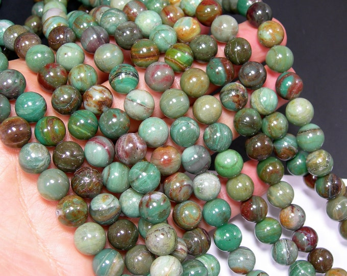 Dragon Blood jade - 10mm  round beads - full strand - 40 beads - RFG2279