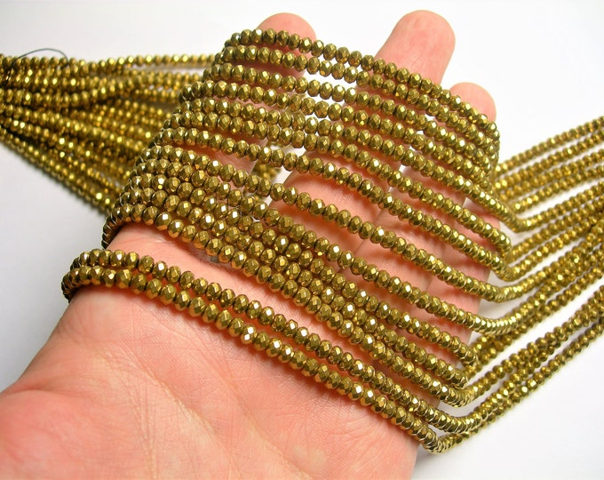 Hematite Gold - 3x4mm faceted rondelle beads - full strand - 127 beads - AA quality - PHG257