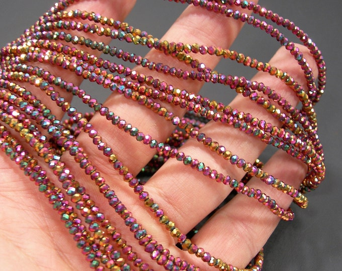 Crystal - rondelle faceted 3mm x 2mm beads - 195 beads - AA quality - metallic ab strawberry spring - CAA2G240
