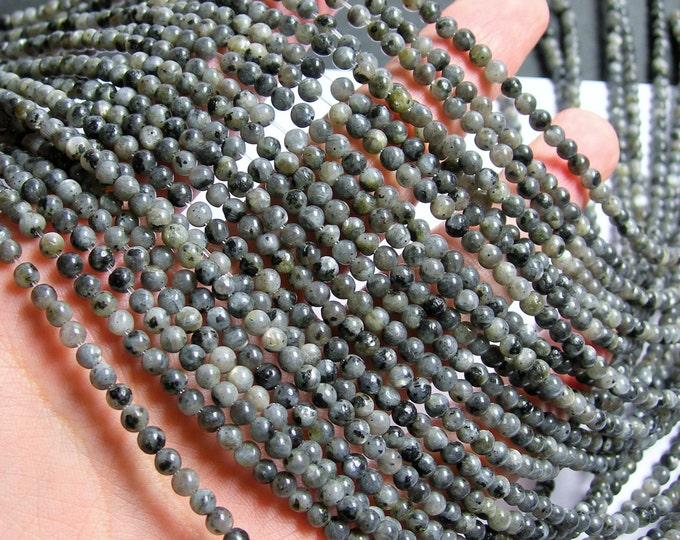 Larvikite 4mm - black labradorite - full strand - 95 beads - RFG752